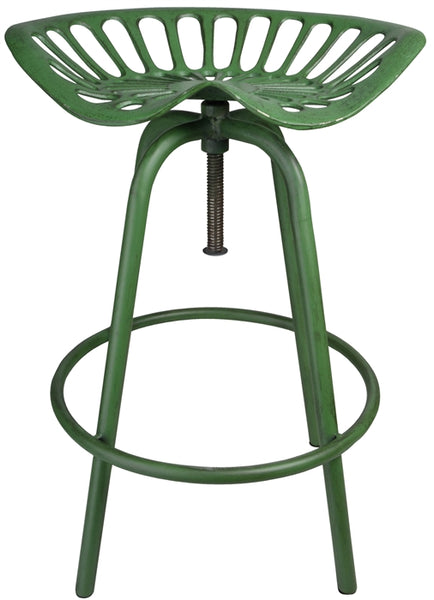 Full-Size Metal Tractor Seat Style Stool in Rustic Green