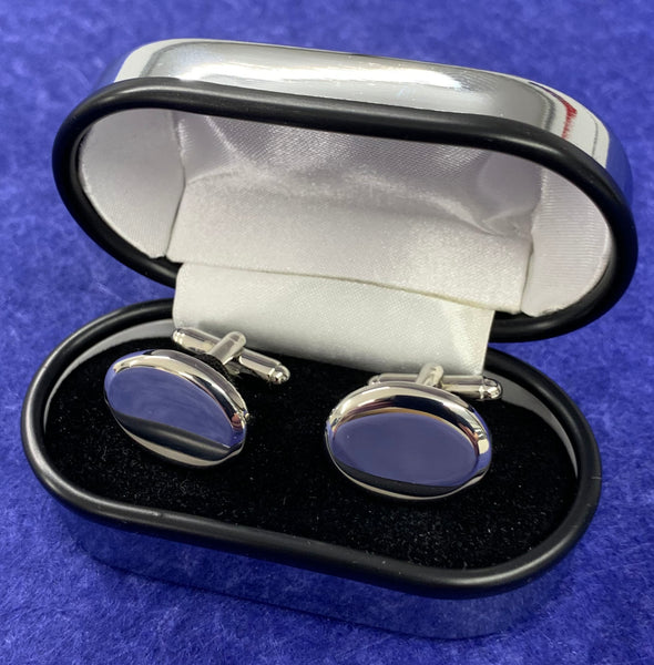 Chrome Plated Cufflinks Presentation Box - Available Engraved Personalised