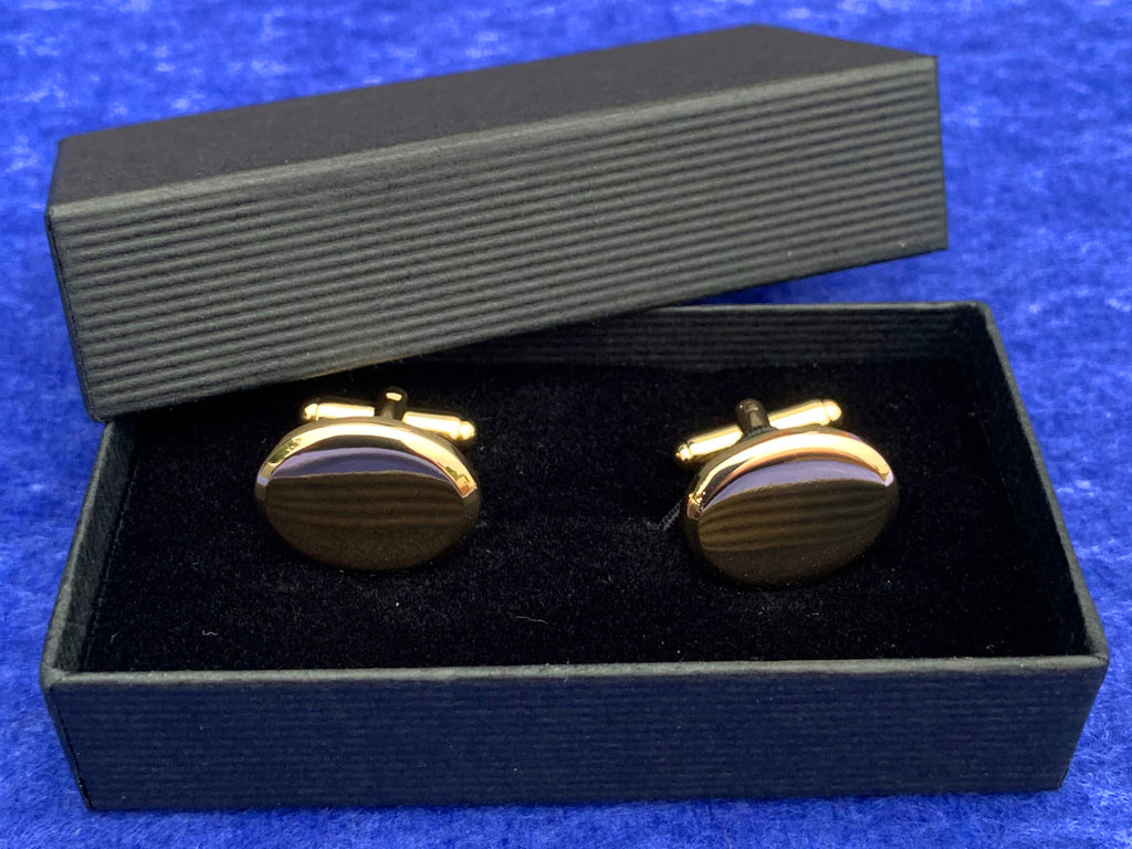 Engraved Personalised Oval Gold Plated Cufflinks
