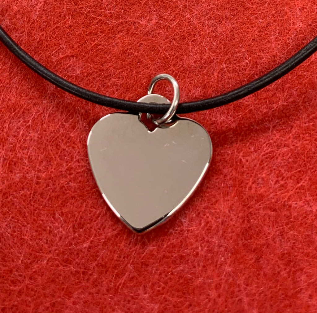 Polished stainless steel heart necklace - Available Personalised Engraved