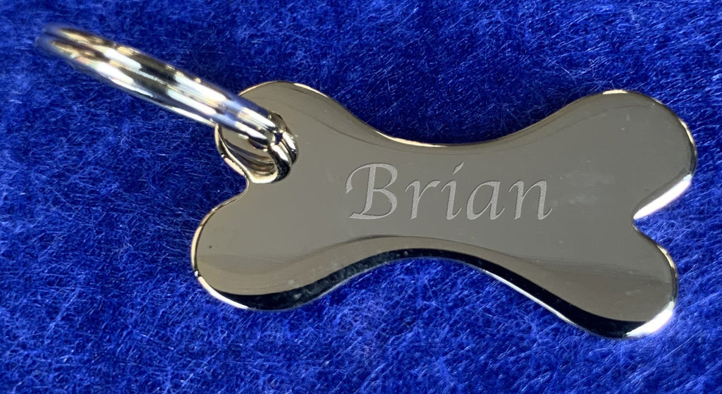 Gold Plated Small Bone Shaped Key Fob or Name Tag - Available Engraved Personalised