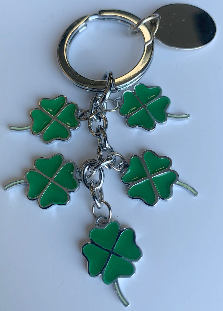 4 Leaf Clover Charms Keyring - Available Engraved Personalised