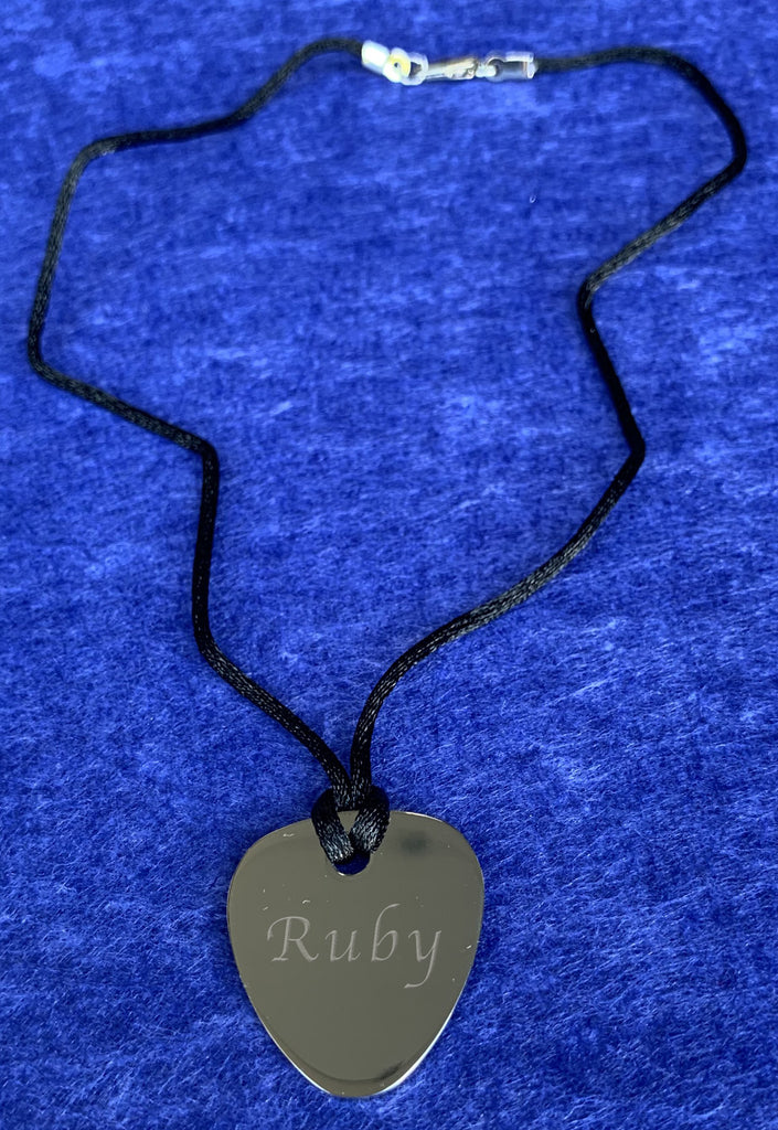 Polished stainless steel guitar plectrum necklace - Available Personalised Engraved