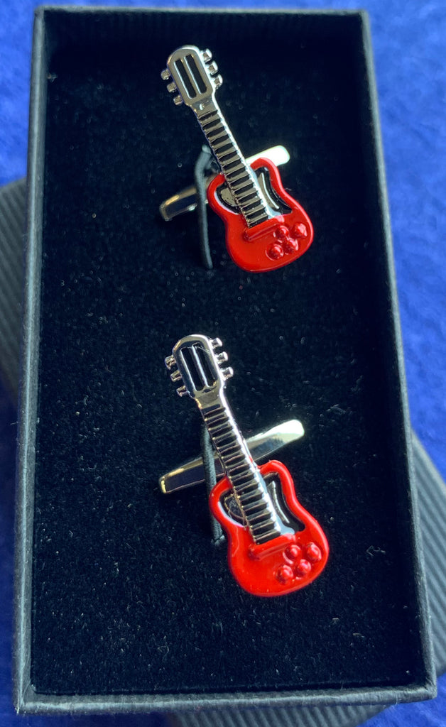Red Electric Guitar Cufflinks
