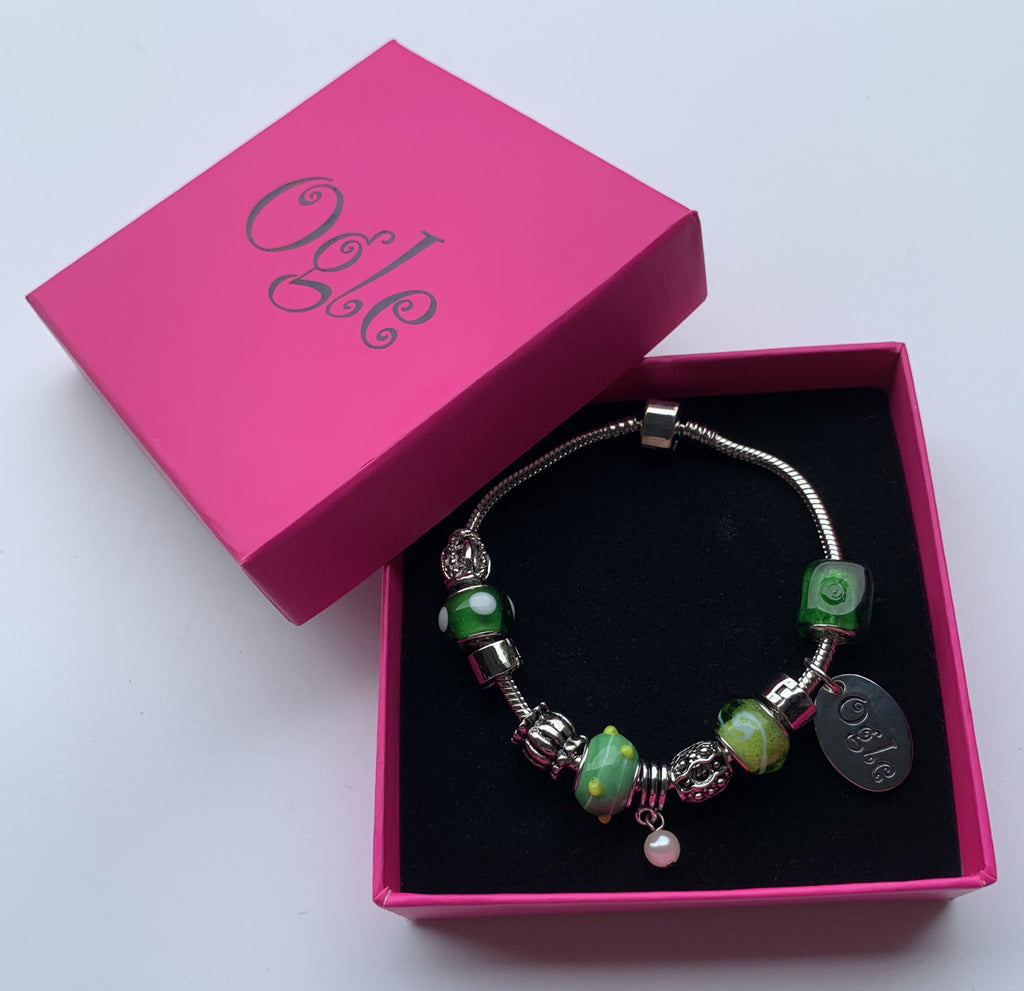 Emerald Green - Charm Bead Bracelet, Modern Day Design by Culzean Ogle