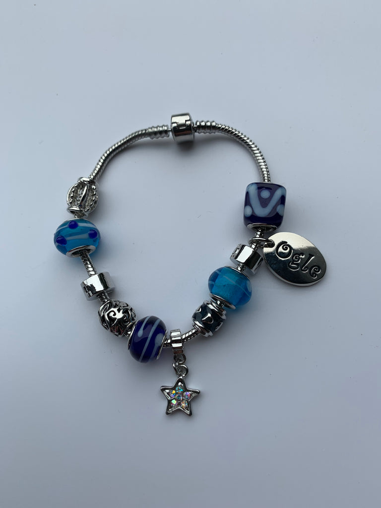 Candy Blue Charm Bead Bracelet, Modern Day Design by Culzean Ogle (06) Personalised Engraved