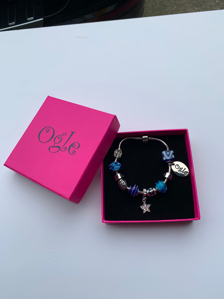 Candy Blue - Charm Bead Bracelet, Modern Day Design by Culzean Ogle