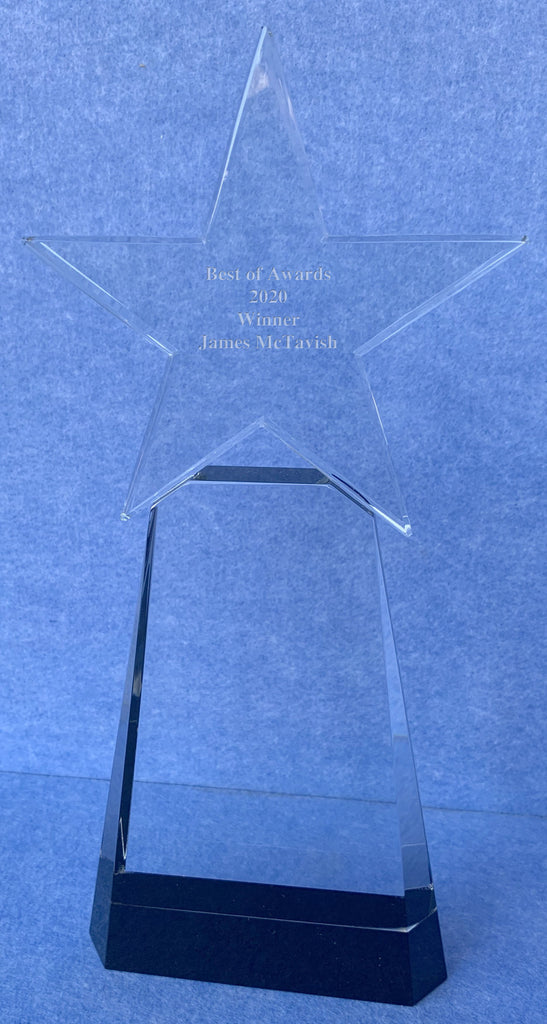 Star Shaped Engraved Personalised Glass Trophy on Plinth