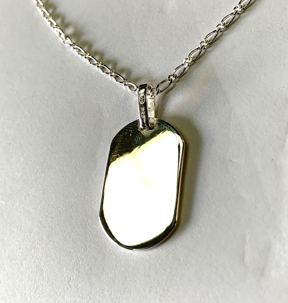 Sterling Silver Chain Necklace with Polished Silver 925 Rectangle Pendant - Available Personalised Engraved