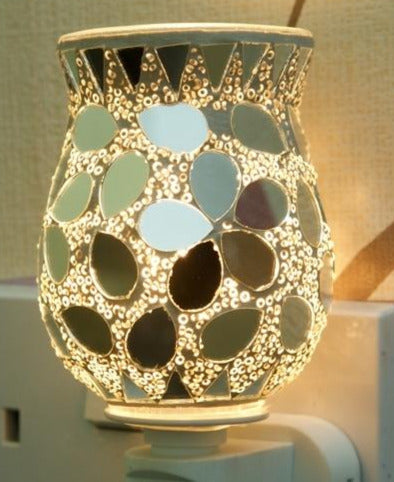 10W* Plug-In Glass Mosaic Wax Melter Aroma Lamp - Silver Tulip