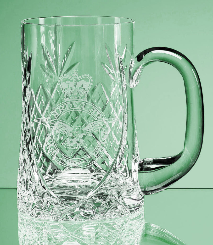 Beautiful Lead Crystal Sloped Panel Tankard - Engraved Glass - Culzean Gifts