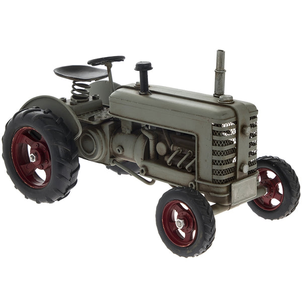 Grey Metal Vintage Tractor Ornament 27cm