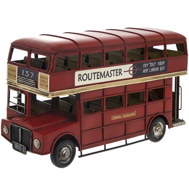 Large Vintage London Bus Tin Ornament 33cm