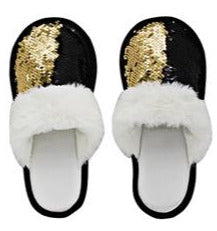Sequinned Slippers - 6 Assorted Colours