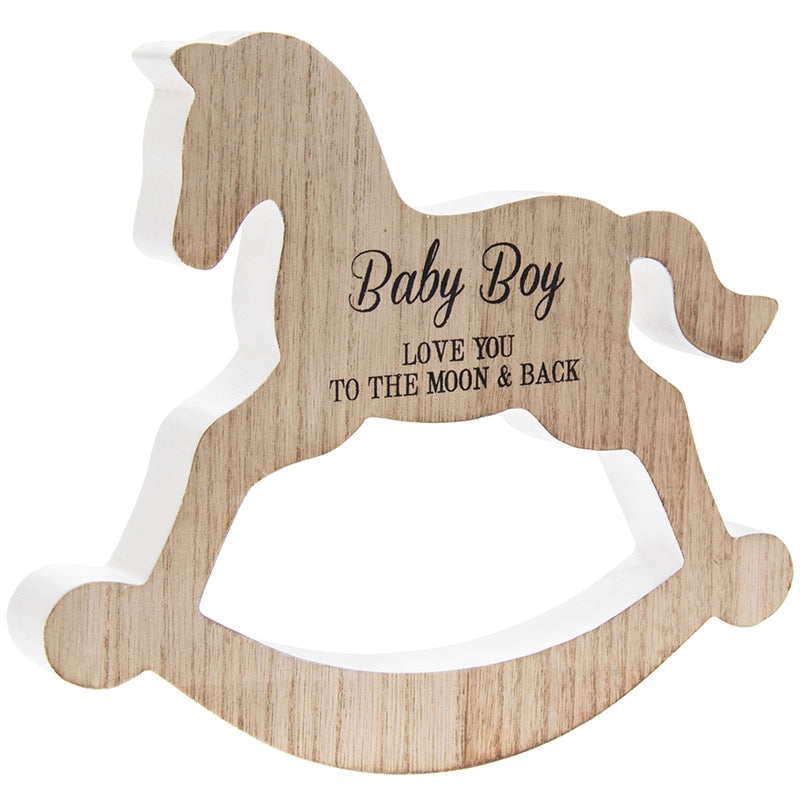 Rocking Horse Plaque Baby Boy 20cm - Culzean Gifts