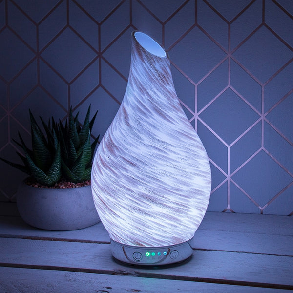 Desire Aroma Humidifier Diffuser In White And Gold Glitter