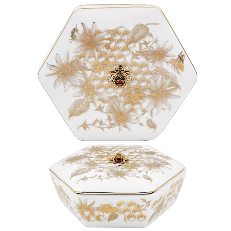 Homeycomb Bee Trinket Box