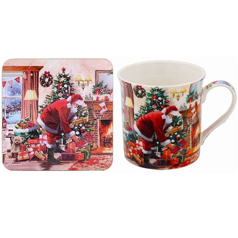 Santa With Presents Mug And Coaster Set