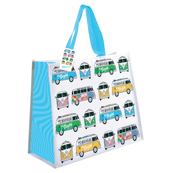 Volkswagen Blue Campervan Shopping Bag