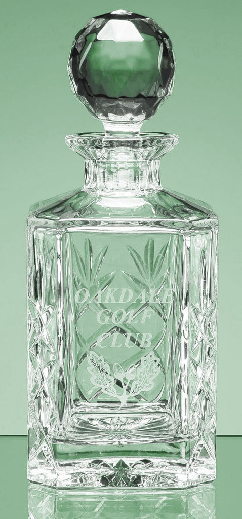 Blenheim Lead Crystal Panel Square Spirit Decanter - Curved Glass Engraved - Culzean Gifts