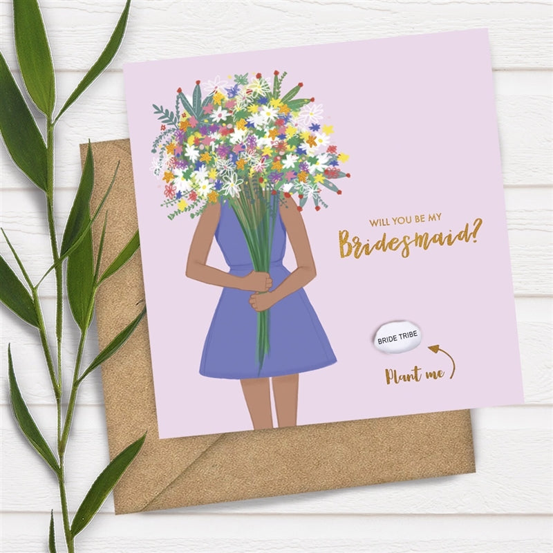 Card With Magic Growing Bean - Be My Bridesmaid - Culzean Gifts