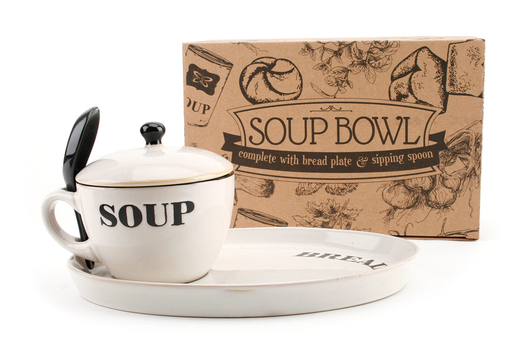 Natural Coloured Soup Bowl And Bread Plate - Culzean Gifts