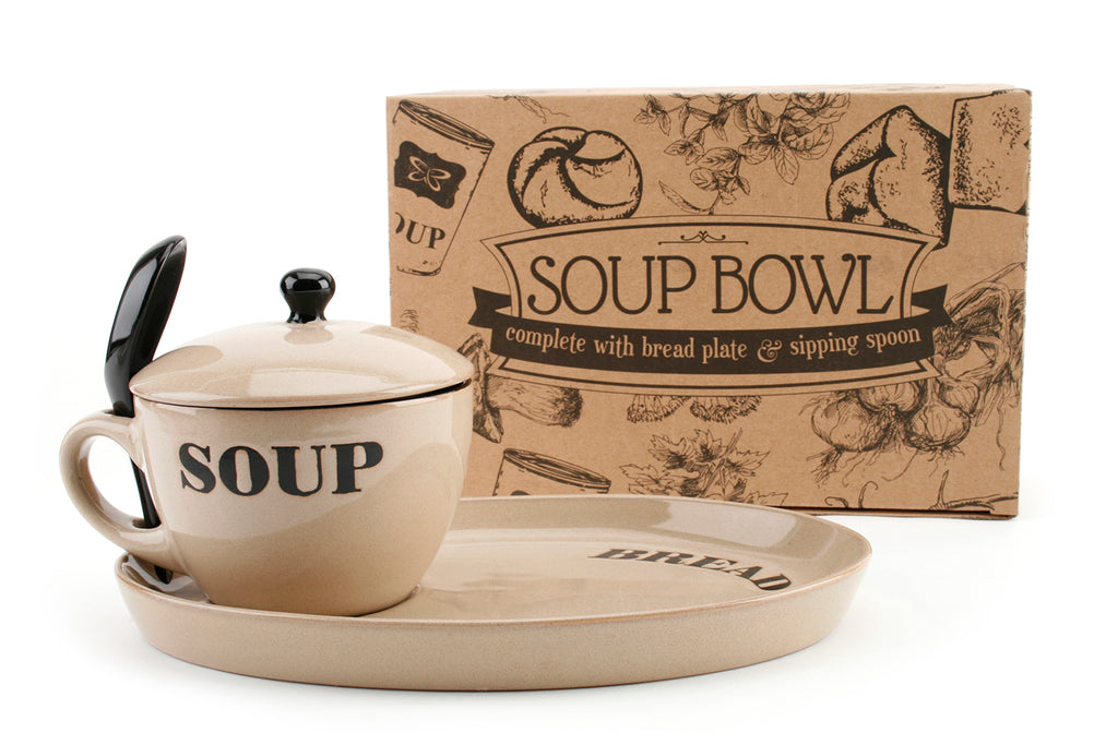 Natural Coloured Soup Bowl And Bread Plate - cookware, cooking gifts, Kitchen gifts  - Culzean Gifts