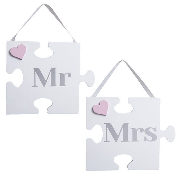 Pair Of Mr And Mrs Jigsaw Themed Plaques - Culzean Gifts