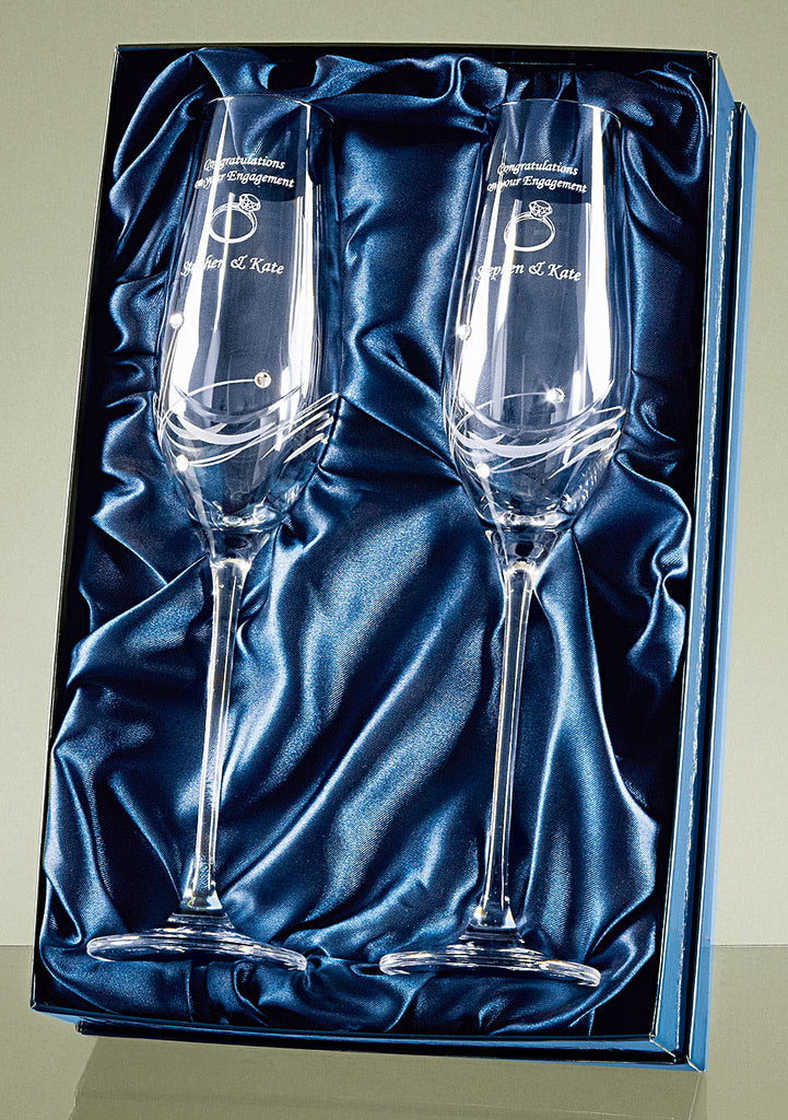 2 Diamante Champagne Flutes with Elegance Spiral Cutting in a Satin Lined Gift Box - Culzean Gifts