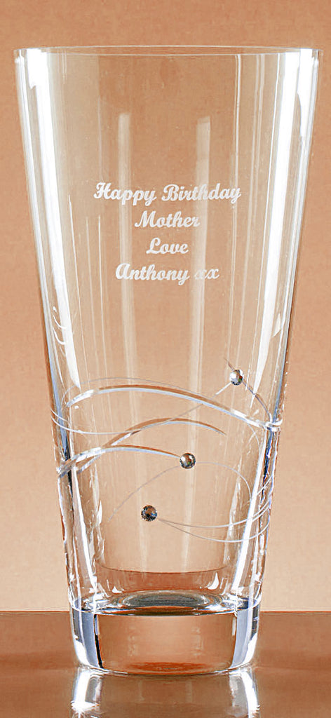 Personalised Glass Engraved Diamante Vase - Perfect Engraved Gift - Culzean Gifts