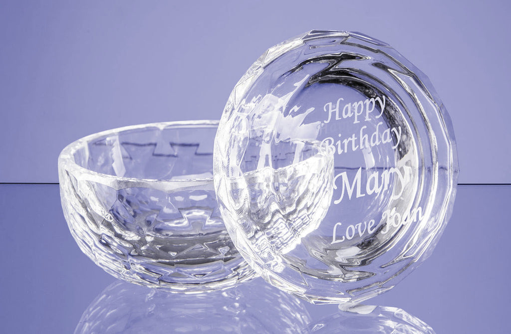 Optical Crystal Facet Trinket Dish - Engraved Personalised Glassware - Culzean Gifts