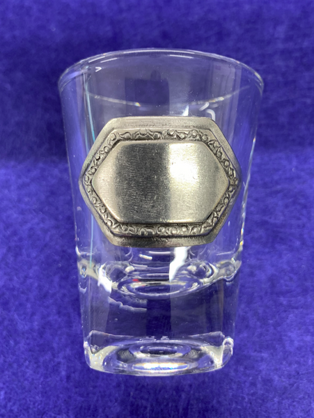 Personalised Shot Glass with Pewter Engraving Panel