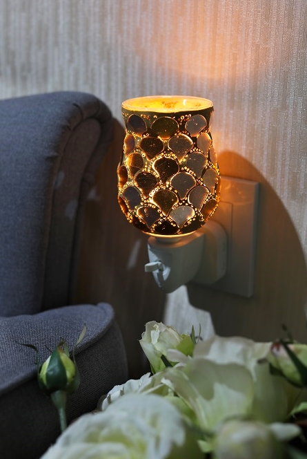 10W Plug-In Glass Wax Melter Aroma Lamp - Gold Ginko