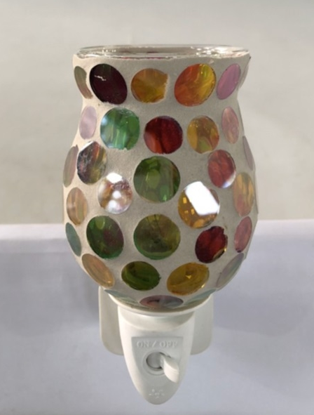 10W Plug-In Glass Wax Melter Aroma Lamp - Multi Coloured Spots