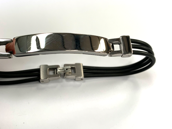 Stainless Steel & Rubber Cord Bracelet - Available Personalised Engraved