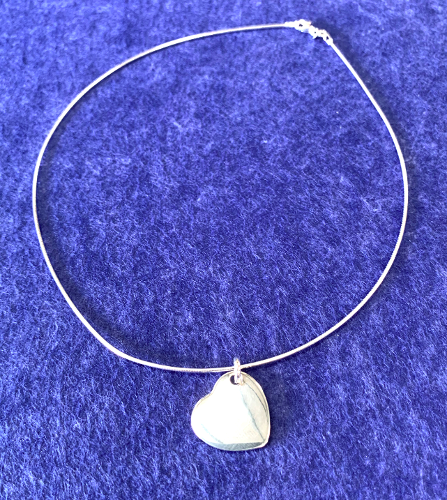 Sterling Silver Rope Necklace with heart pendant  - Available Personalised Engraved