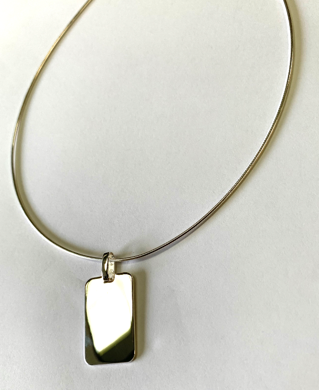 Sterling Silver Rope Necklace with Polished Silver 925 Rectangle Pendant - Available Personalised Engraved