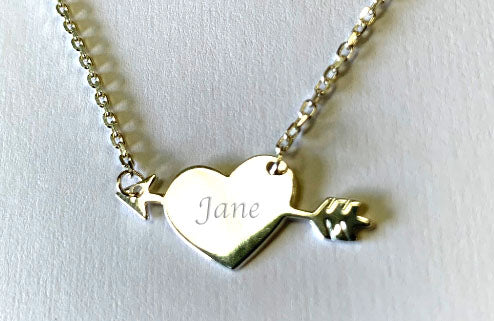 Sterling Silver 925 Necklace with Heart & Arrow Pendant - Available Personalised Engraved