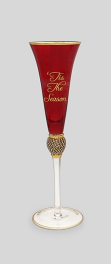 Red And Gold Champagne Flute 3 Assorted 28cm