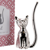 Silver Cat With Crystal Eyes Ring Holder