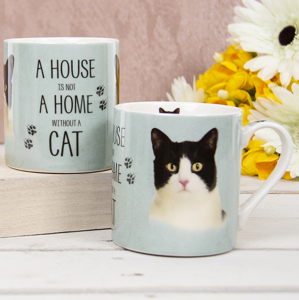 House Not Home Mug - Black And White Cat