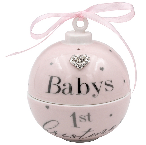 Baby's First Christmas Trinket Bauble - Pink