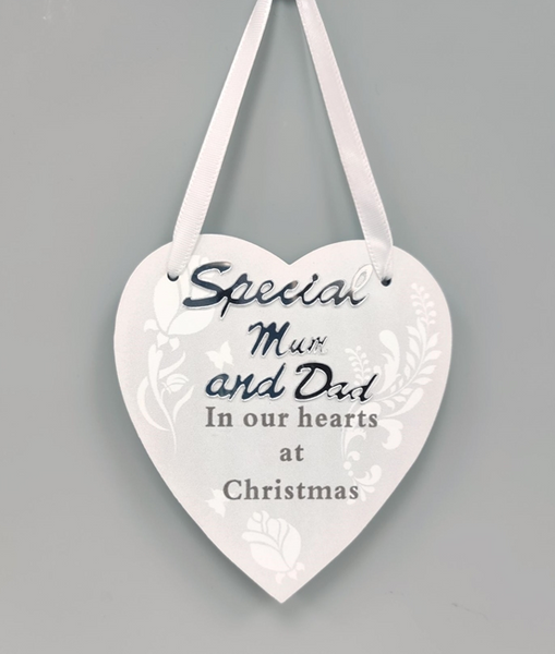 Hanging Heart Memorial Decoration Mum And Dad 10cm