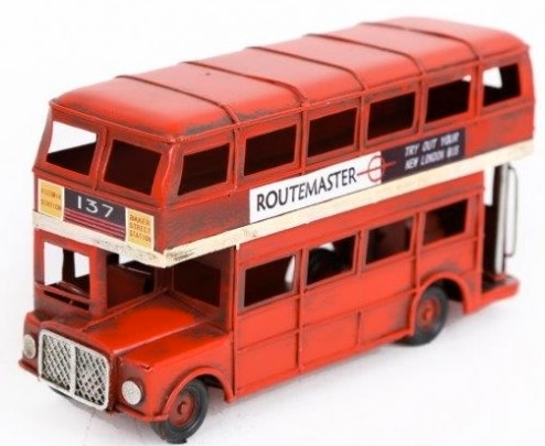 London Bus Tin Ornament 16cm