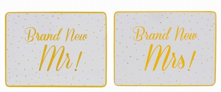 Gold Spotted Brand New Mr And Mrs Placemat