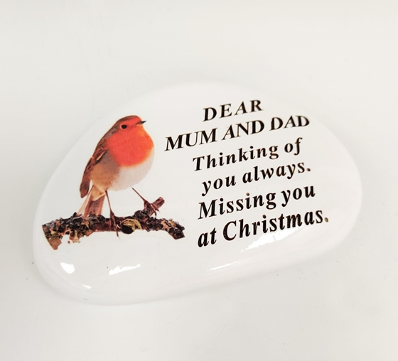 Robin Memorial Pebble Mum And Dad 14cm