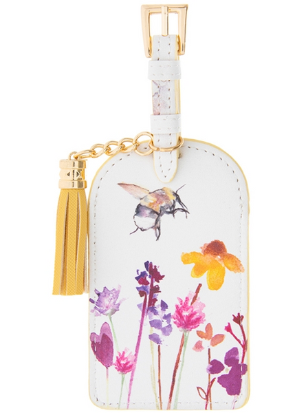 Busy Bees Faux Leather Luggage Tag With Tassel 14.5cm