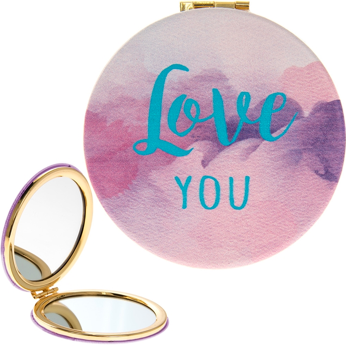 Love You Watercolour Compact Mirror 8cm