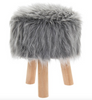 Plush - GREY FURRY STOOL ROUND