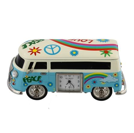 Miniature Orange or Blue Camper Van Clock